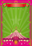 Pink circus. A green background with a big top pink and white for your poster Stock Photos