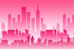 Pink city. Modern city in colorful pink layers Stock Photo