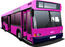 Pink city bus Stock Images