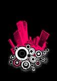 Pink city with circles. Vector Stock Photos