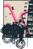Pink City Poster. Vector Illustration Stock Images