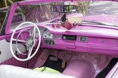 Pink classic car, Cuba Royalty Free Stock Photography