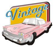 Pink classic car with icon and word. Pink classic car with icon and blue letters stock illustration