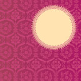 Pink classical damask round banner Stock Photo