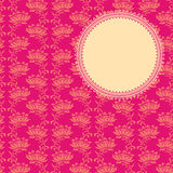 Pink classical oriental floral round banner Stock Photos