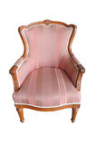 Pink classical style Armchair sofa. Vintage pink luxury armchair isolated Stock Image
