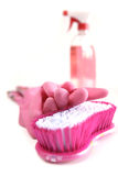 Pink cleaning kit Royalty Free Stock Image
