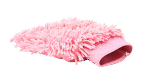 Pink cleaning microfiber glove Royalty Free Stock Image