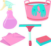 Pink cleaning set. Pink tools for cleaning: a squeegee, a sponge, a spray bottle, a bucket with water and gloves, a rag Royalty Free Stock Photos