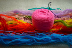 Pink clew of wool thread for embroidery hobby Stock Photos