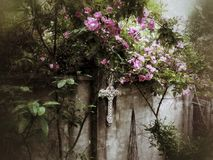 Pink climbing rose falls over stucco courtyard wall. A pink climbing rose falls over a stucco courtyard wall with a celtic cross peeking out from the foliage Royalty Free Stock Photography