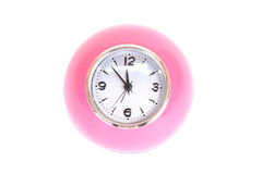 Clock pink on white Royalty Free Stock Photography