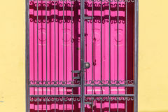 Pink closed door  with black gratings Royalty Free Stock Photography