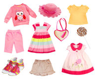 Pink clothes baby collage set isolated on white. Royalty Free Stock Photography