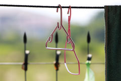Pink clothes hanger. S and  the field in background Stock Image