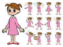 Pink clothing girl in hand painted Stock Photography
