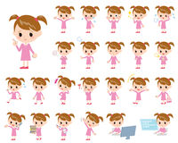 Pink clothing girl. Set of various poses of Pink clothing girl Royalty Free Stock Image