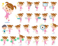 Pink clothing girl 2. Set of various poses of Pink clothing girl 2 Stock Photo