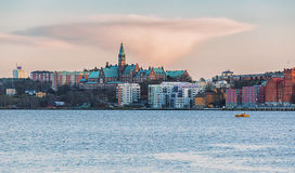 Pink cloud over Stockholm. Stock Image