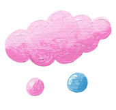 Pink cloud with two drops Royalty Free Stock Image