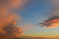 Pink clouds on blue sky. A view of the pink wavy clouds in the blue evening sky stock photo