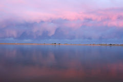 Pink clouds reflecting in a lake Royalty Free Stock Photo