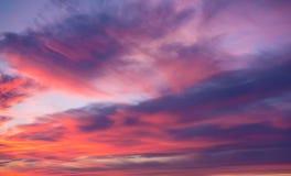 Pink clouds at a sunset Stock Photos