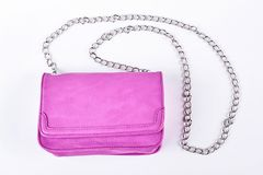 Pink clutch isolated on white background. Stock Images