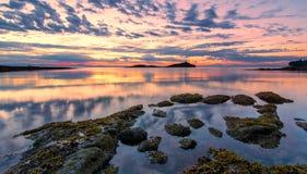 Pink Coastal Sunset With Dramatic Clouds Stock Photos
