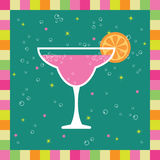 Pink cocktail. Funky greeting card design with pink cocktail Royalty Free Stock Images