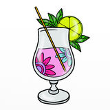 Pink cocktail with flowers Stock Photos