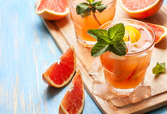 Pink cocktail with fresh grapefruit Stock Photography