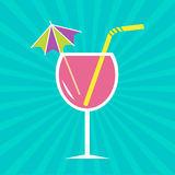 Pink cocktail glass with drinking straw and umbrel. La. Sunburst background.  Vector illustration Stock Photography