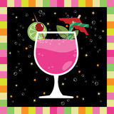 Pink cocktail number 2. Funky greeting card design with pink cocktail, fruit, straw and umbrella Royalty Free Stock Image