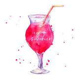 Pink cocktail with text enjoy summer. Vector Stock Photography