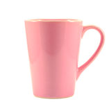 Pink coffee cup on white background Royalty Free Stock Photography