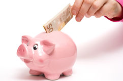 Pink coin bank as pig. With fifty euro note in a female hand Stock Photo