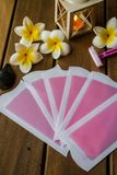 Pink cold wax strips stock photos