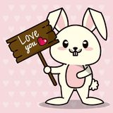 Pink color background with hearts silhouettes and cute kawaii animal bunny standing with wooden sign love you and heart. Vector illustration Royalty Free Stock Image