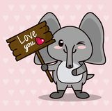 Pink color background with hearts silhouettes and cute kawaii animal elephant standing with wooden sign love you and. Heart vector illustration Stock Photo