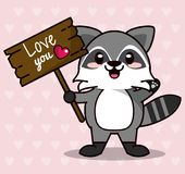 Pink color background with hearts silhouettes and cute kawaii animal raccoon standing with wooden sign love you and. Heart vector illustration Royalty Free Stock Image
