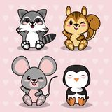 Pink color background with hearts silhouettes with cute kawaii animals. Vector illustration royalty free illustration