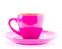 Pink Color Cup On Plate Stock Photos