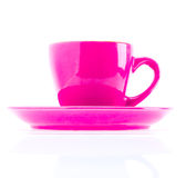 Pink Color Cup On Plate Royalty Free Stock Images