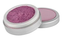 Pink color eyeshadow powder with glitter particles, in round grey open container sitting on its lid, beauty product isolated on. White background stock image