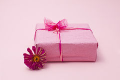 Pink color gift box Royalty Free Stock Image