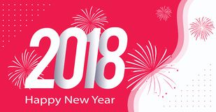 Pink color Happy new year 2018. Greeting - Pink color Happy new year 2018 Stock Photos