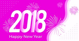 Pink color Happy new year 2018. Card Royalty Free Stock Photography