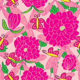 Pink Color Line Flower Butterfly Seamless Pattern Stock Photo