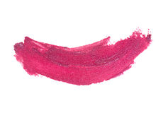 Pink color lipstick stroke on white paper Royalty Free Stock Photos